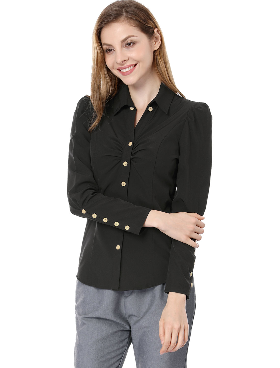 Women Point Collar Long Sleeve Button Decor Cuffs Casual...