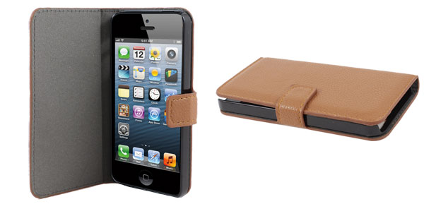 Brown Lichee Pattern Faux Leather Flip Case Cover for Apple iPhone 5 5G