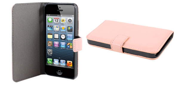 Light Pink Lichee Pattern Faux Leather Flip Case Cover for Apple iPhone 5 5G