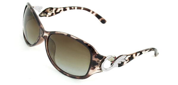 Coffee Color Clear Full Rim Casual Colored Lens Polarized Sunglasses for Woman