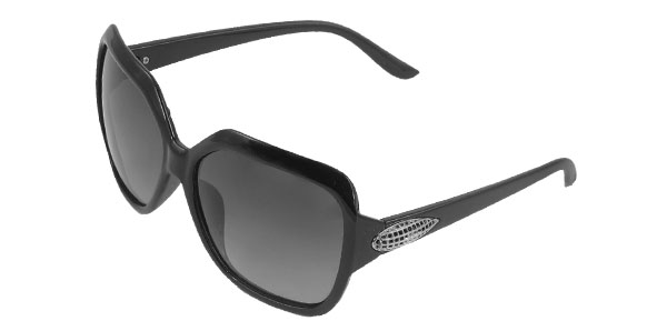 Black Full Rim Metal Corn Detail Temple Leisure Polarized Sunglasses for Women