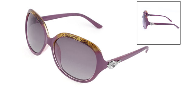 Ladies Full Rim Square Len Dark Purple Polarized Sunglasses