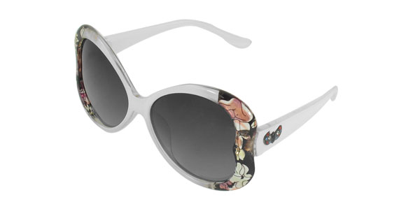 Woman Flowers Print White Full Frame Tinted Lens Oversized Polarized Sunglasses
