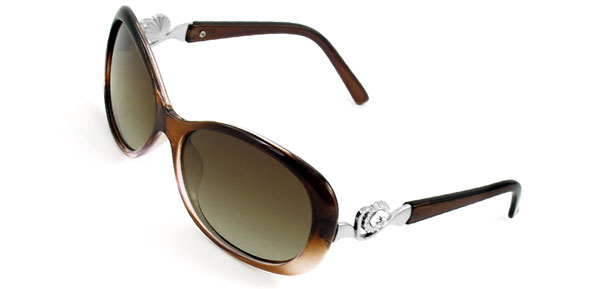 Women Clear Brown Full Rim Rhinestone Detail Metal Temple Polarized Sunglasses