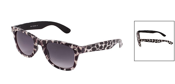 Lady Leopard Printed Brown White Full Frame Oversize Tinted Lens Sunglasses