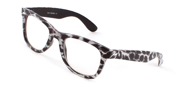 Ladies Leopard Print Clear Lens White Black Plastic Full Rim Frame Plain Glass