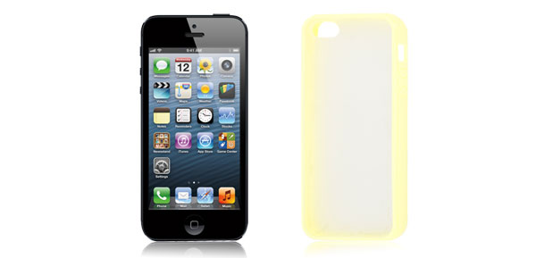 TPU Plastic Protecting Sleeve Guard Cover Yellow Clear for iPhone 5 5th