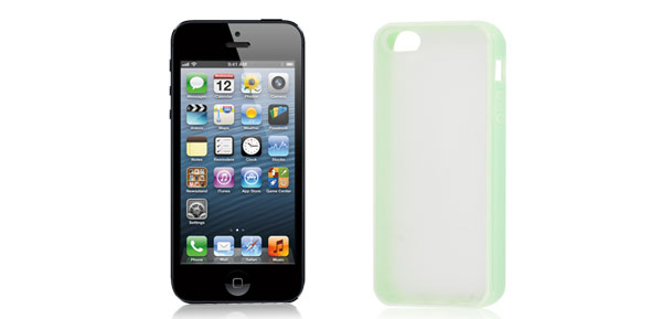 TPU Plastic Protecting Sleeve Guard Cover Light Green Clear for iPhone 5 5th