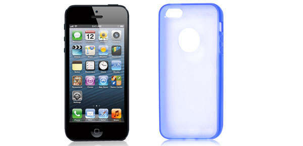 Navy Blue Hem Clear Back TPU Pastic Case Cover for Apple iPhone 5 5G