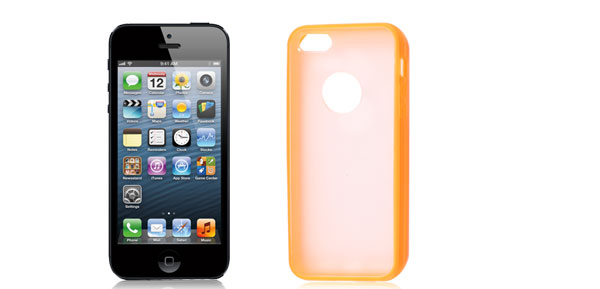 Orange Hem Clear Back TPU Pastic Case Cover for Apple iPhone 5 5G