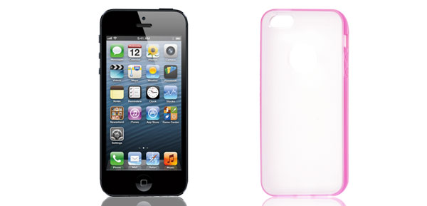 TPU Wire Drawing Plastic Pink Clear Case Guard for Apple iPhone 5 5G