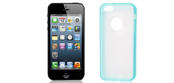 Blue Hem Clear Back TPU Pastic Case Cover for Apple iPhone 5 5G
