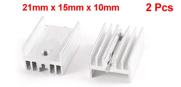 2 Pcs 21mm x 15mm x 10mm Aluminium Heatsink Radiating Cooler Cooling Fin