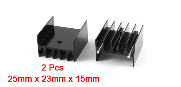 2 Pcs 25mm x 23mm x 15mm Aluminium Heatsink Radiating Cooler Cooling Fin Black