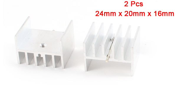 2 Pcs 24mm x 20mm x 16mm Heatsink Heat Dissipation Aluminium Cooling Fin
