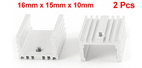 2 Pcs 16mm x 15mm x 10mm Heatsink Heat Dissipation Aluminium Cooling Fin