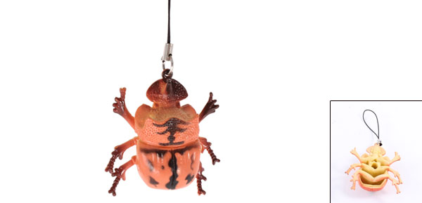 Manmade Dark Orange Dung Beetle Pendant Strap String Toy Gift for MP4 Cell Phone