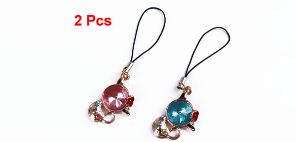 Lovers 2 Pcs Plastic Crystal Detail Cat Pendants Cell Phone Charms