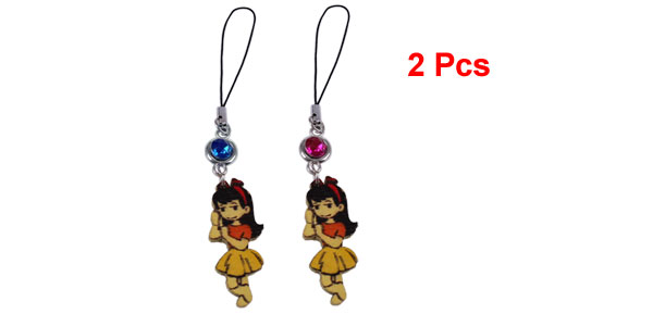 2 Pcs Plastic Bead Link Girl Shape Pendant Cell Phone Charms for Lovers