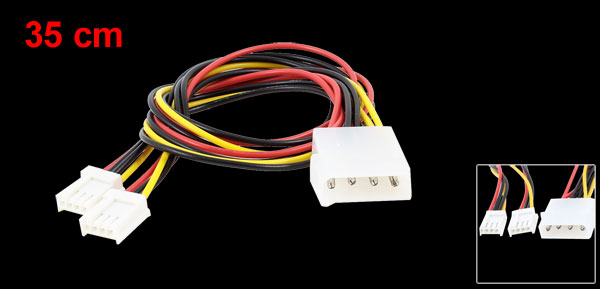 IDE ATA 4 Pin Male to 2 x 4 Pin Floppy Female Y Splitter Power Cable Lead