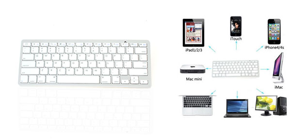 Wireless bluetooth 3.0 Keyboard White Silver Tone for PC Computer Tablet