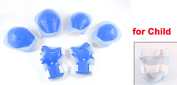 6 in 1 Skiing Skating Blue Palm Elbow Knee Support Protector Set for Child