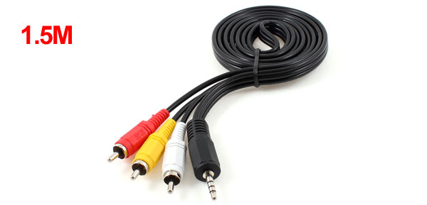 4.9ft Long 3.5mm Jack to 3 RCA Male Adapter AV Extension Cable for TV VCD DVD