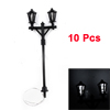 10pcs Black Plastic Dual Head 1:100 Model Lamppost White LED Street Light 2.71""