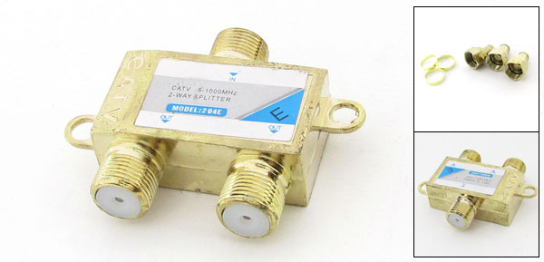 5-1000MHz 1 In 2 Out TV CATV 2 Way Cable Coaxial Splitter w 3 Screws