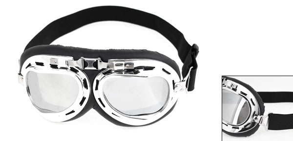 Motorbike Silver Tone Chrome Plated Adjustable Wind Resistant Glasses Goggles