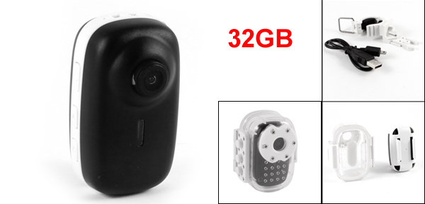 32GB TF Card Waterproof Mini Sport DV Camera 20M HD Camcorder w Bracket