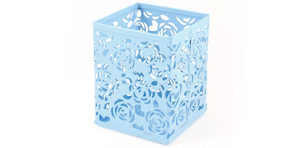 Light Blue Hollow Rose Flower Square Metal Pen Pencil Pot Holder Organizer