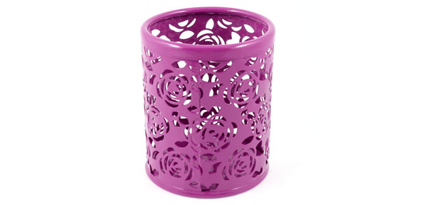 Fuchsia Hollow Rose Flower Pattern Metal Pen Pencil Pot Holder Organizer