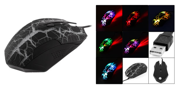 Black Crack Pattern 3200DPI USB Optical Gaming Game Mouse Mice LED Wired for PC