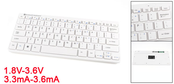 Ultra Thin bluetooth 3.0 Wireless Keyboard 78 Keys White for iPhone iPad Tablet