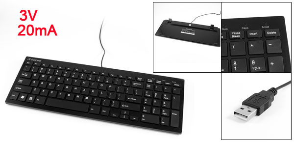 Black Plastic Wired 99 Keys USB Ultra Thin Keyboard for PC Laptop Desktop
