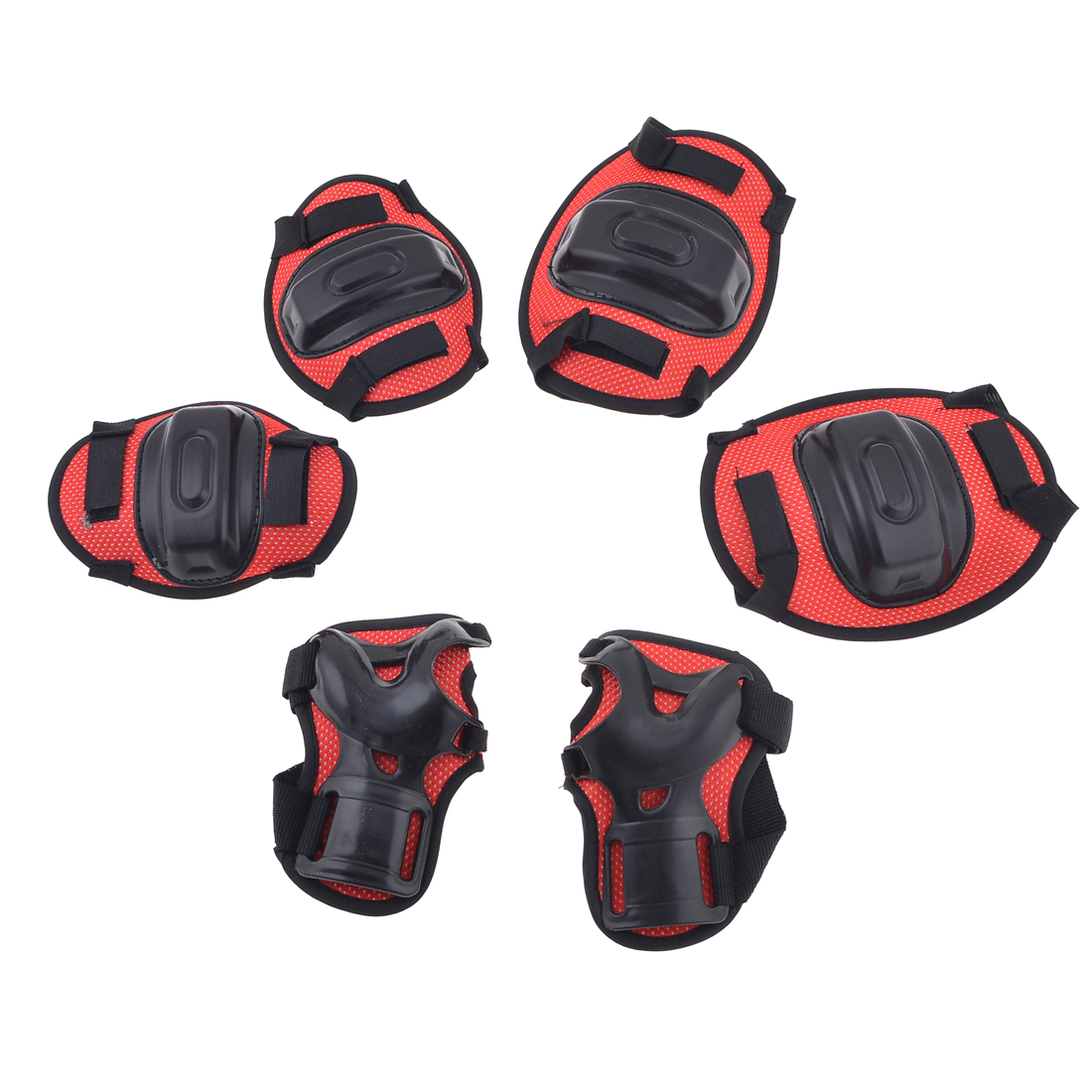 Children-Roller-Knee-Palm-Elbow-Guard-Support-Brace-Pad-Black-Red-Set