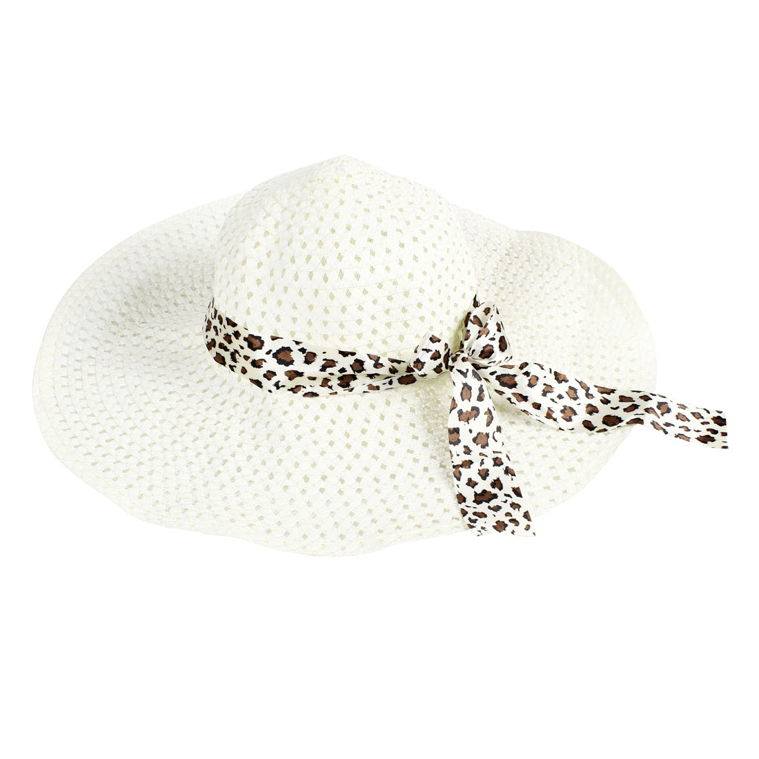 Self Tie Bow Wide Brim Hollow Out Design Beach Sun Hat for...
