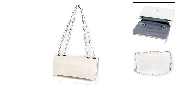 White Faux Leather Rectangle Shaped Handbag for Lady