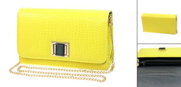 Lady Yellow Faux Leather Crocodile Pattern Turn Lock Closure Gold Tone Metal Chain Shoulderbag