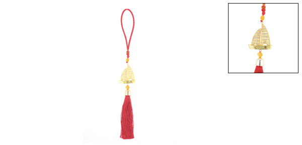 Gold Tone Sailing Boat Decor Chinese Knot Hanging Ornament