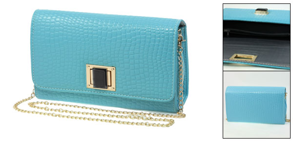 Lady Light Blue Crocodile Pattern Faux Leather Turn Lock Closure Gold Tone Metal Chain Shouldbag