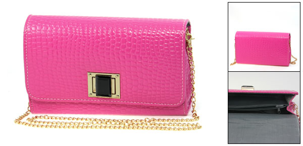 Lady Hot Pink Crocodile Pattern Faux Leather Turn Lock Closure Gold Tone Chain Shoulder Bag
