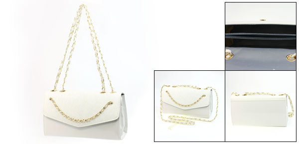 White Faux Leather Press Stud Button Closure Gold Tone Metal Chain Shoulder Bag for Lady