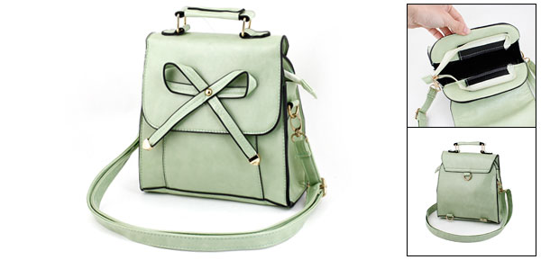 Light Green Bowknot Decoration Faux Leather Handbag for Lady