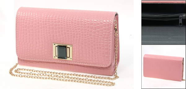Pink Faux Leather Turn Lock Closure Gold Tone Metal Chain Shoulderbag