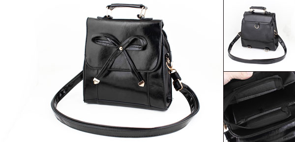 Black Bowknot Detailing Faux Leather Handbag for Lady