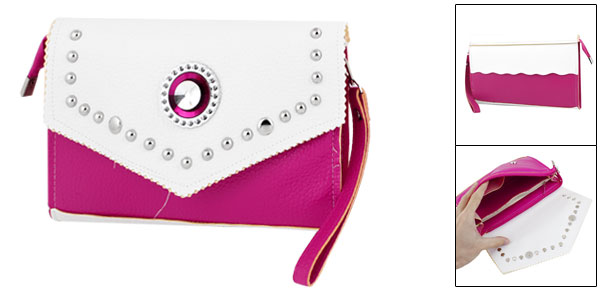 Lady White Fuchsia Faux Leather Shiny Rhinestone Accent Satchels