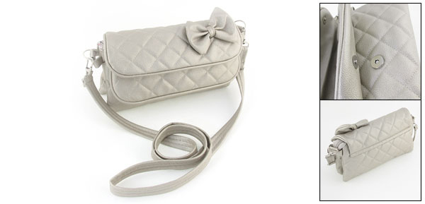 Zipper Closure 3 Compartments Faux Leather Bowknot Decor Strap Shoulder Bag for Lady