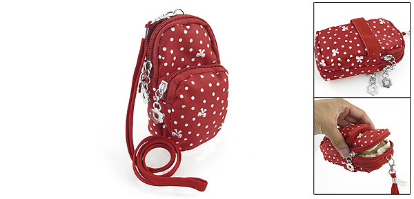 White Dotted Bowknot Prints 3 Compartments Zip Up Wrist Cell Phone Bag Pouch Red